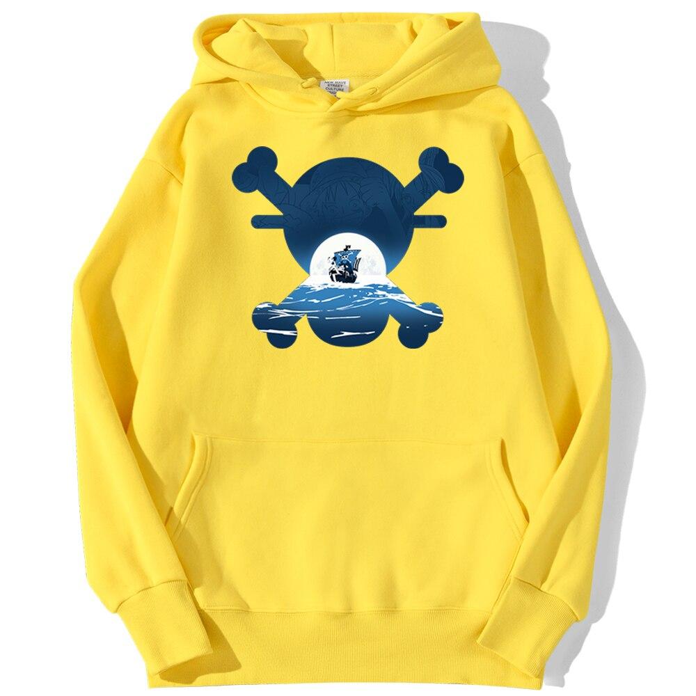 sweatshirt hoodie one piece skull merry jaune
