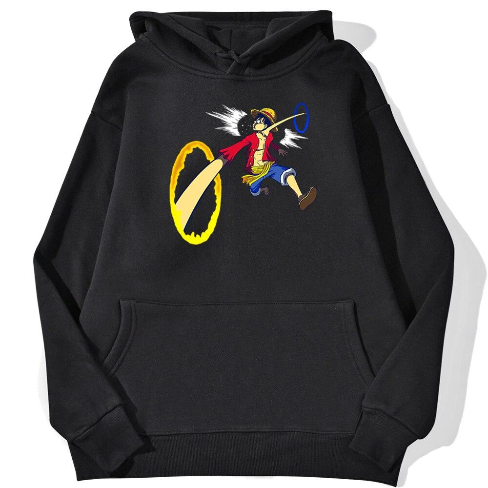 sweatshirt hoodie one piece luffy punch noir