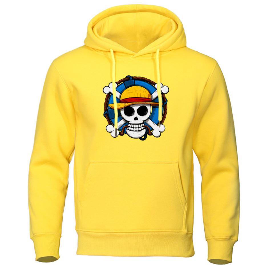 sweatshirt hoodie one piece skull strawhat jaune
