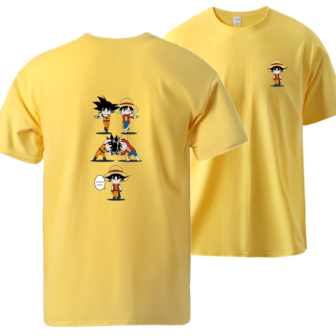 t shirt one piece luffy goku fusion jaune