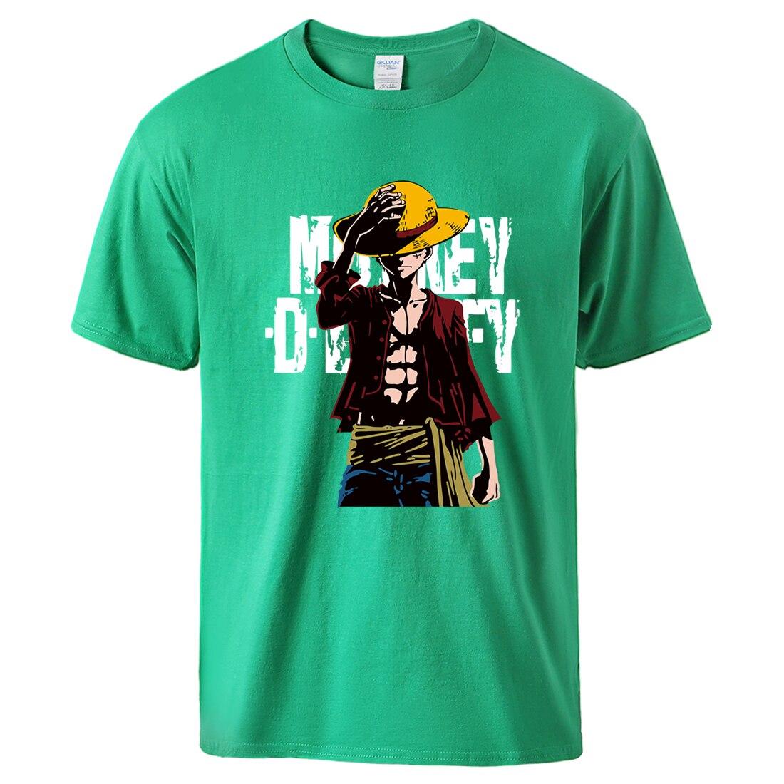 t shirt one piece monkey luffy vert