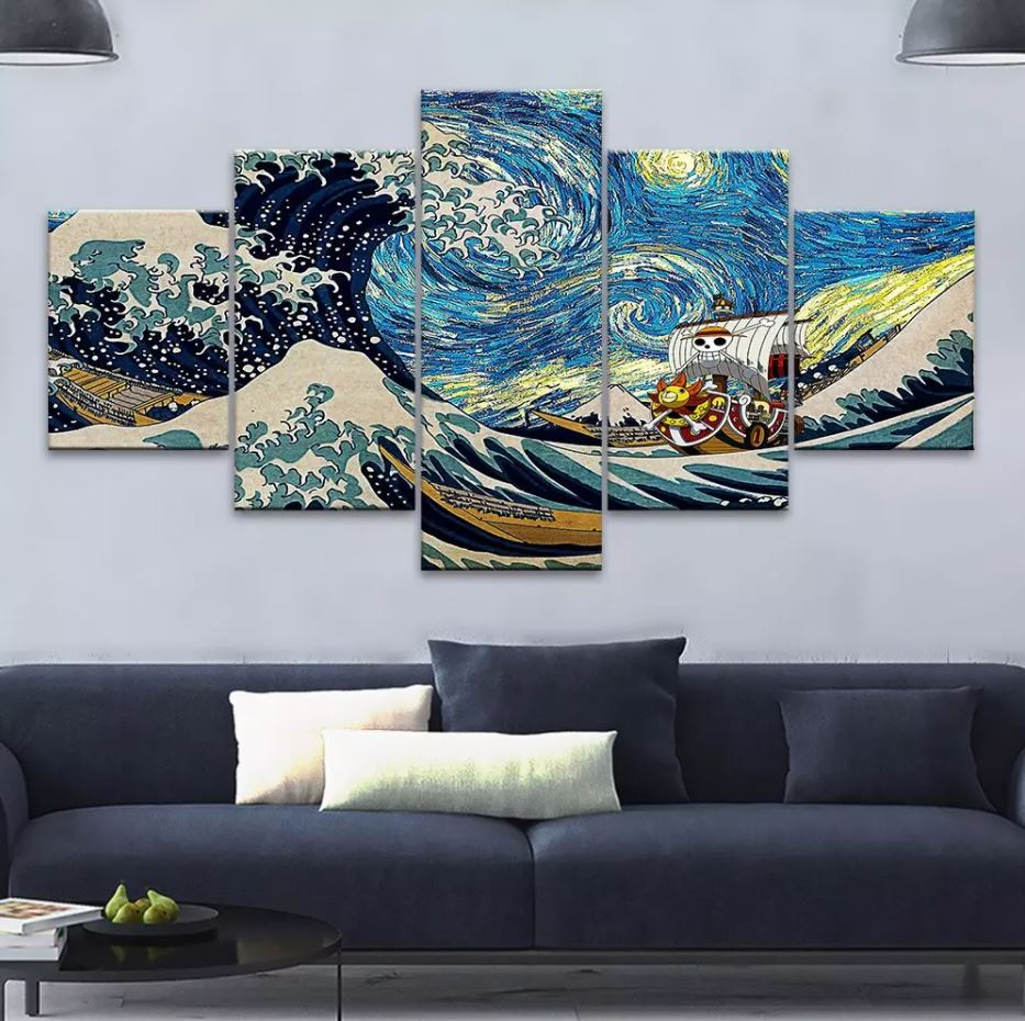 tableau toile one piece 5 parties vogue merry waves 1