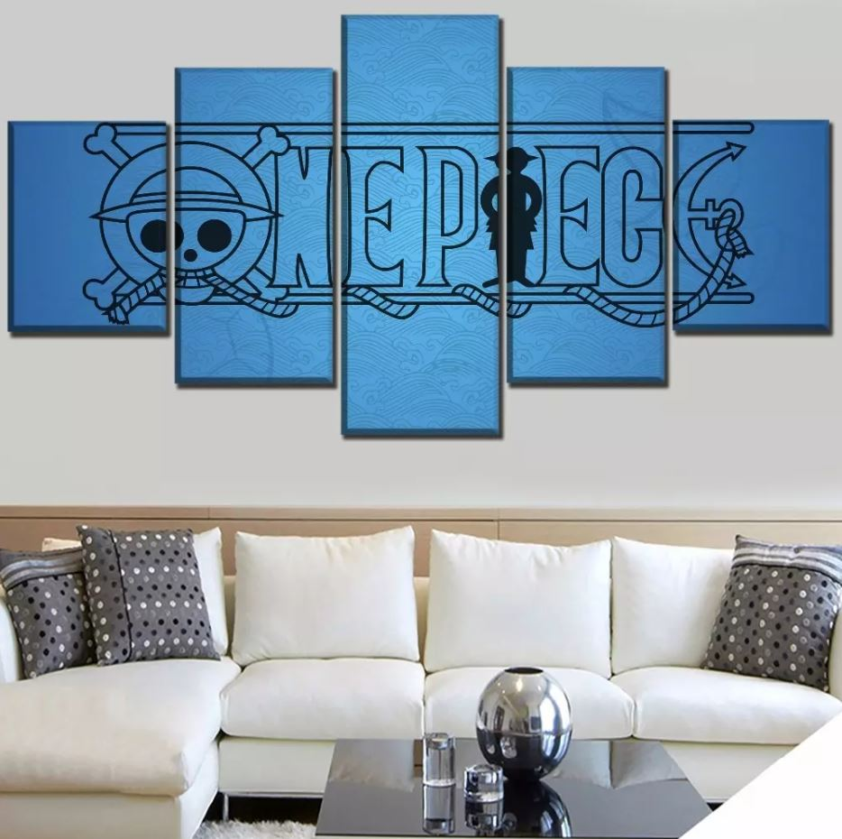 tableau toile one piece 5 parties logo bleu 1