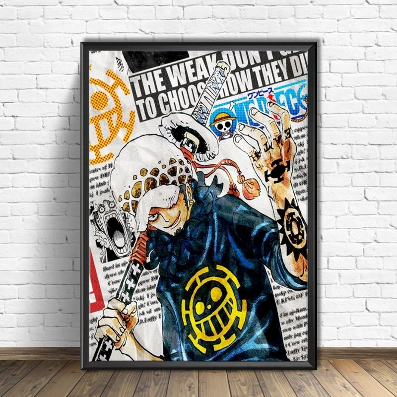 tableau toile one piece traflagar law newspapers 4