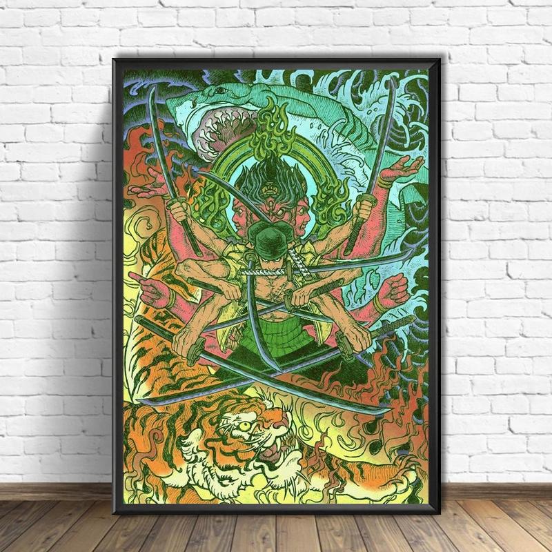 Tableau One Piece Zoro Bouddha
