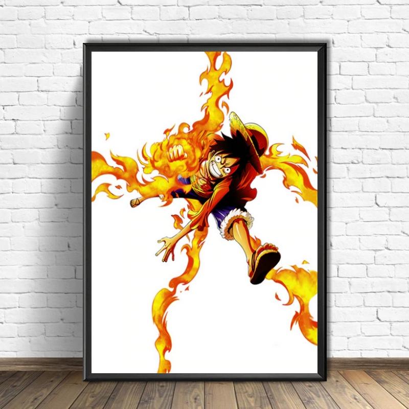 Tableau One Piece Luffy Fire