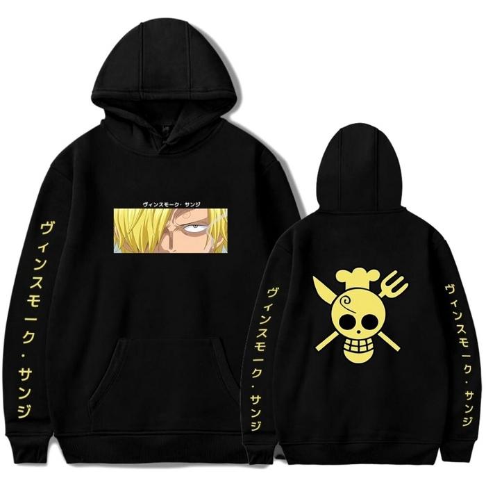 sweatshirt one piece pirate sanji noir