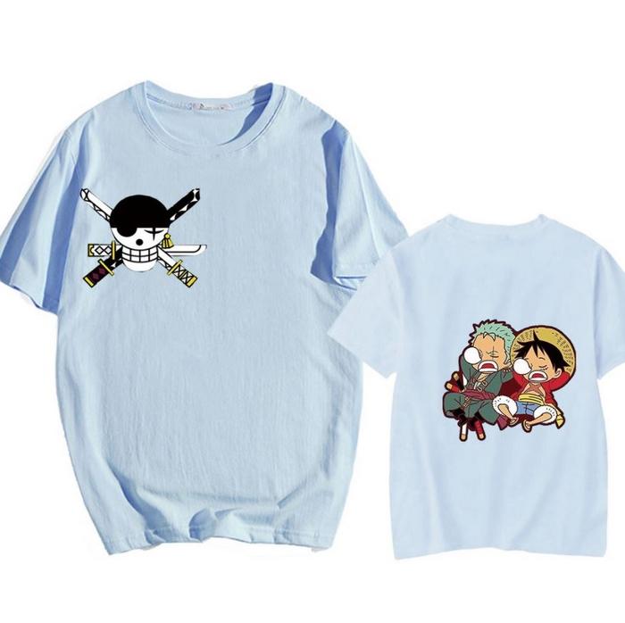 tshirt one piece luffy zoro sleep sieste bleu