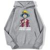 sweatshirt hoodie one piece luffy want you gris