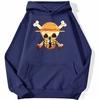 sweatshirt hoodie one piece logo paysage bleu marine