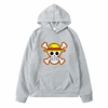 sweatshirt hoodie one piece logo gris