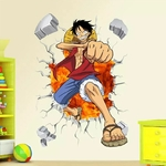 stickers mural luffy color one piece 1