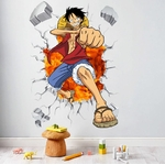 stickers mural luffy color one piece 2