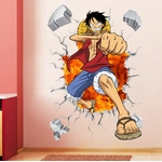 stickers mural luffy color one piece 3