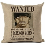 taie oreiller wanted one piece roronoa zoro 2