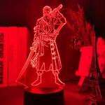 lampe 3d one piece roronoa zoro rouge