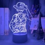 lampe 3d one piece luffy strawhat bleu
