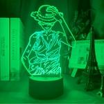 lampe 3d one piece luffy strawhat vert