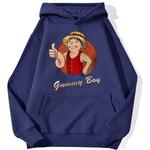 sweatshirt hoodie one piece gummy boy bleu marine