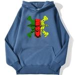 sweatshirt hoodie one piece monster trio bleu azur