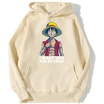 sweatshirt hoodie one piece luffy want you beige