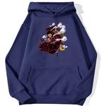 sweatshirt hoodie one piece luffy gear 4 bleu marine