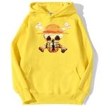 sweatshirt hoodie one piece logo paysage jaune