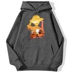 sweatshirt hoodie one piece luffy paysage gris fonce