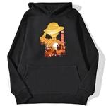 sweatshirt hoodie one piece luffy paysage noir