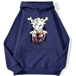 sweatshirt hoodie one piece monkey luffy gear bleu marine