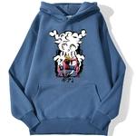 sweatshirt hoodie one piece monkey luffy gear bleu azur