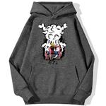 sweatshirt hoodie one piece monkey luffy gear gris fonce