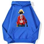 sweatshirt hoodie one piece luffy haki bleu