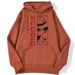 sweatshirt hoodie monkey luffy studio rouge brique