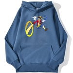 sweatshirt hoodie one piece luffy punch bleu azur