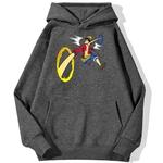 sweatshirt hoodie one piece luffy punch gris fonce