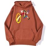 sweatshirt hoodie one piece luffy punch rouge brique