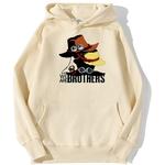 sweatshirt hoodie one piece we are brothers beige