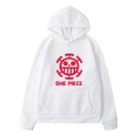sweatshirt hoodie one piece traflagar law logo rouge 3