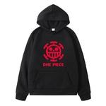sweatshirt hoodie one piece traflagar law logo rouge 6