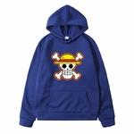 sweatshirt hoodie one piece logo bleu