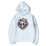 sweatshirt hoodie one piece skull blanc