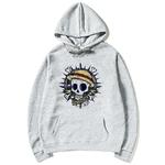 sweatshirt hoodie one piece skull gris
