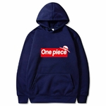 sweatshirt hoodie one piece supreme bleu marine
