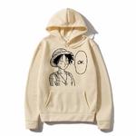 sweatshirt hoodie one piece luffy ok beige