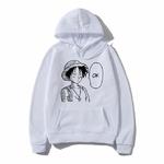 sweatshirt hoodie one piece luffy ok blanc