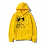 sweatshirt hoodie one piece luffy ok jaune
