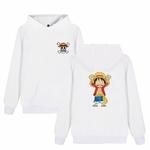 sweatshirt hoodie one piece monkey luffy blanc