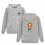 sweatshirt hoodie one piece monkey luffy gris