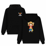 sweatshirt hoodie one piece monkey luffy noir